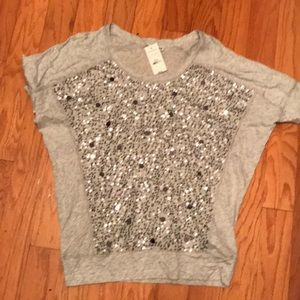 Tops - Express gray sequin T-shirt